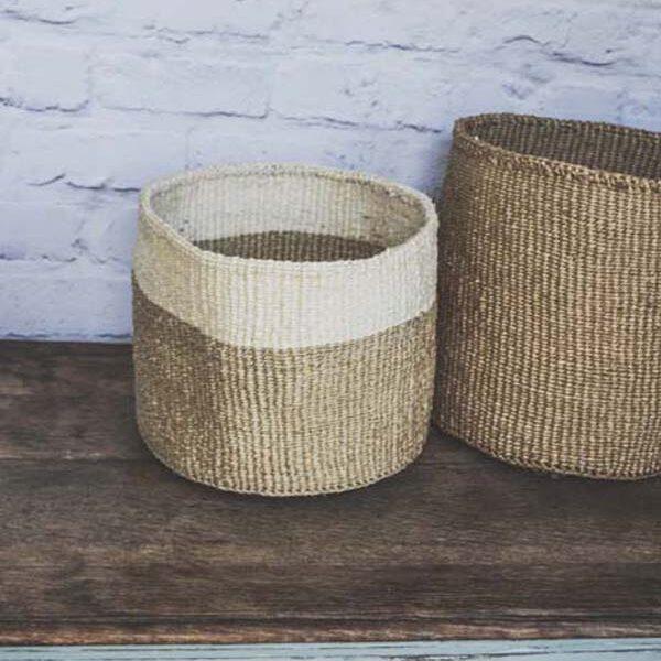 Handwoven sisal basket