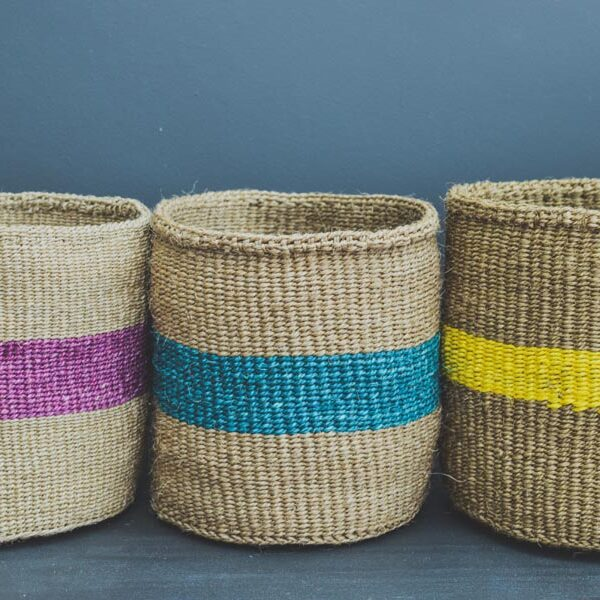 purple sisal basket