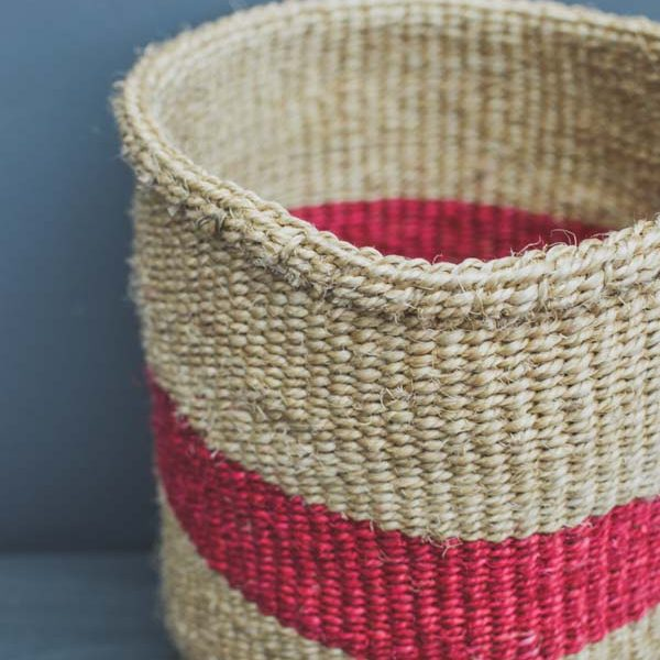 raspberry stripe sisal basket