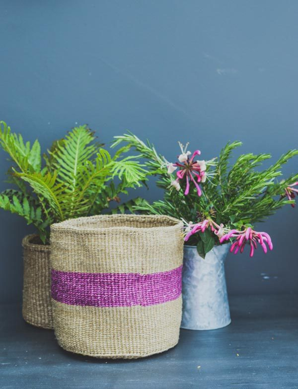 purple stripe basket
