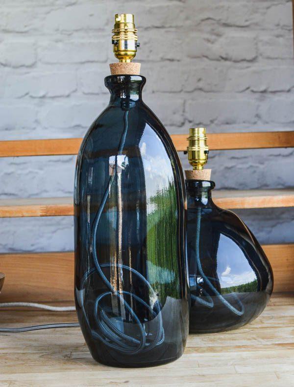 Blue Glass Bottle Lamp
