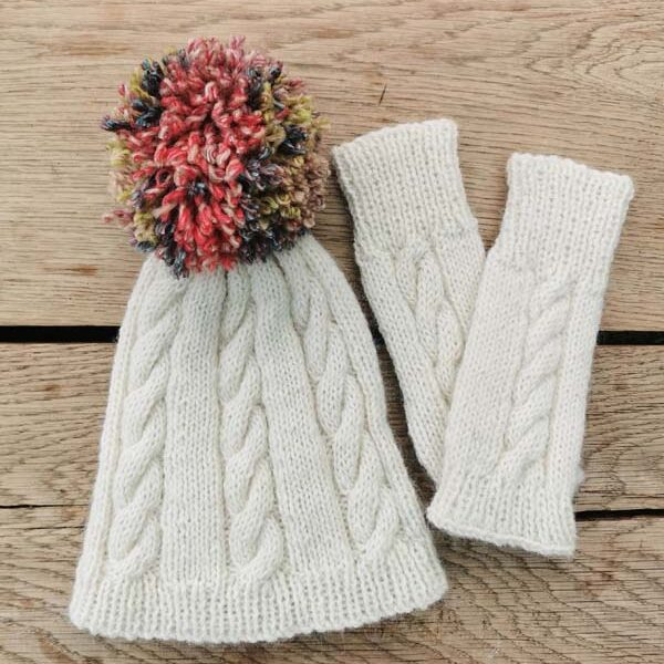 Alpaca hat and wrist warmers